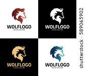 wolf logo design template. wolf ... | Shutterstock .eps vector #589065902