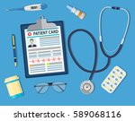 top view of doctor workplace | Shutterstock . vector #589068116