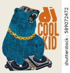 dj bear vector design for tee | Shutterstock .eps vector #589072472