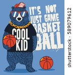 street basketball player bear... | Shutterstock .eps vector #589079612