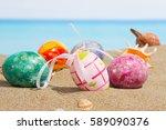 easter on beach background.... | Shutterstock . vector #589090376