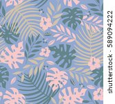 vector seamless tropical leaves ... | Shutterstock .eps vector #589094222