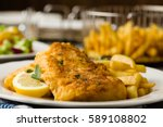 fried cod with french fries on... | Shutterstock . vector #589108802