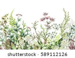 seamless rim. border with herbs ... | Shutterstock . vector #589112126