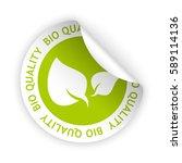 vector green bent sticker with... | Shutterstock .eps vector #589114136