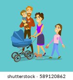 big family on the walk. mother... | Shutterstock .eps vector #589120862