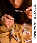 heroin withdrawal help . woman... | Shutterstock . vector #589122956