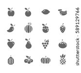 set of  fruit vector icons.... | Shutterstock .eps vector #589129766