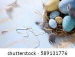 easter background with easter... | Shutterstock . vector #589131776