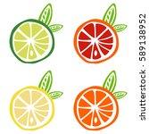 yellow lemon green lime orange... | Shutterstock .eps vector #589138952