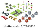 set isometric road and vector... | Shutterstock .eps vector #589140056