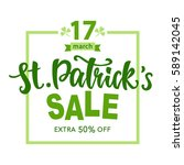 saint patrick's day sale poster.... | Shutterstock .eps vector #589142045