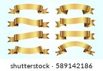 set of golden ribbons on blue... | Shutterstock .eps vector #589142186