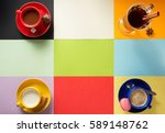 cup of coffee  milk and cacao... | Shutterstock . vector #589148762