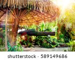 exotic travel background.palms... | Shutterstock . vector #589149686