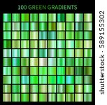 100 big set. Mega collection of green gradient illustrations for eco backgrounds, cover, frame, ribbon, banner, flyer, card etc. Vector template EPS10