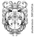 vector hand drawn illustration... | Shutterstock .eps vector #589156916
