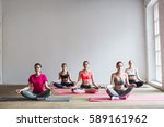 yoga. group of women relaxes in ... | Shutterstock . vector #589161962