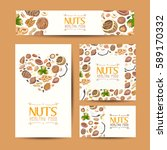 set of vector cards with nuts... | Shutterstock .eps vector #589170332