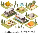 isometric set of camp elements... | Shutterstock .eps vector #589173716