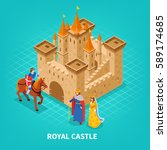 colored royal castle isometric... | Shutterstock .eps vector #589174685