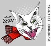 vector white cat. hand drawn... | Shutterstock .eps vector #589175462