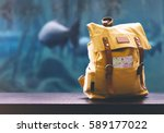 hipster yellow backpack and map ... | Shutterstock . vector #589177022