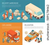 colored isometric delivery... | Shutterstock .eps vector #589178462