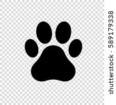 dog or cat paw print vector... | Shutterstock .eps vector #589179338