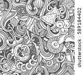 cartoon cute doodles hand drawn ... | Shutterstock .eps vector #589184402