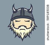 viking face logo illustration | Shutterstock .eps vector #589185038