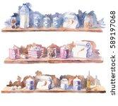 watercolor illustration of... | Shutterstock . vector #589197068