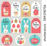 set with happy easter gift tags ... | Shutterstock .eps vector #589198706