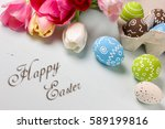 painted easter eggs and bouquet ... | Shutterstock . vector #589199816