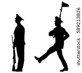 black set silhouette soldier is ... | Shutterstock .eps vector #589213826
