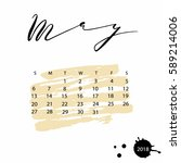 vector calendar for may 2018.... | Shutterstock .eps vector #589214006