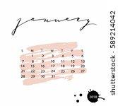 vector calendar for january... | Shutterstock .eps vector #589214042