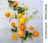 citrus fruit display from... | Shutterstock . vector #589215668