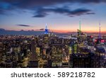 aerial view of manhattan... | Shutterstock . vector #589218782