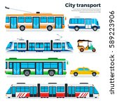city transport flat... | Shutterstock . vector #589223906