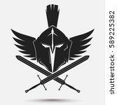 spartan helmet logo with... | Shutterstock .eps vector #589225382