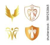 isolated golden color angel...   Shutterstock .eps vector #589252865