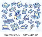 set of vintage video game... | Shutterstock . vector #589260452