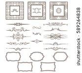 set of vintage frames and... | Shutterstock .eps vector #589264838