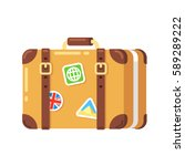 vintage travel suitcase with... | Shutterstock .eps vector #589289222