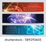 glowing vector banners.... | Shutterstock .eps vector #589293605