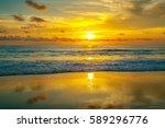 colorful sunset on karon beach. ... | Shutterstock . vector #589296776