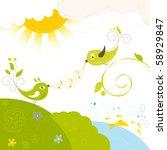 cute little birds in love | Shutterstock .eps vector #58929847
