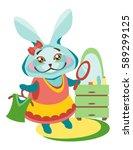 elegant rabbit in a dress...   Shutterstock .eps vector #589299125
