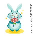 rabbit eating a lollipop.   Shutterstock .eps vector #589299158